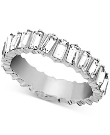 Essentials Crystal Band Ring in Fine Silver-Plate