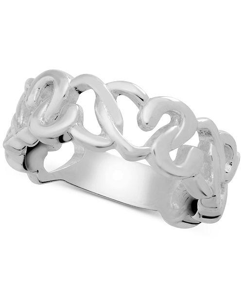 Essentials Heart Openwork Link Ring in Fine Silver-Plate