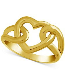 Open Heart Link Ring in Gold-Plate