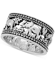 Elephant Band Ring in Fine Silver-Plate
