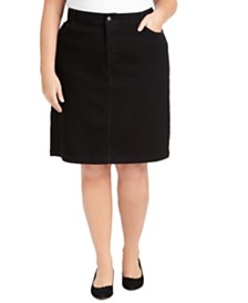 Charter Club Plus Size Tummy-Control Denim Pencil Skirt, Created for Macy's