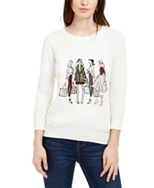 Maison Jules Girls Go Shopping Sequin Sweater, Created For Macy's