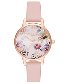 Women's Dusty Pink Leather Strap Watch 30mm