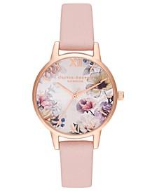 Women's Dusty Pink Leather Strap Watch 30mm