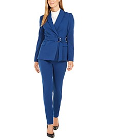 Petite Scuba Crepe Belted Jacket, Mock-Neck Long-Sleeve Top & Scuba Crepe Pants