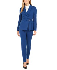 Calvin Klein Petite Scuba Crepe Belted Jacket, Mock-Neck Long-Sleeve Top & Scuba Crepe Pants