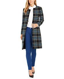 Petite Plaid Topper, Mock-Neck Long-Sleeve Top & Scuba Crepe Pants
