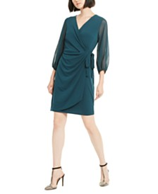 I.N.C. Balloon-Sleeve Wrap Dress, Created for Macy's