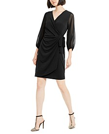 INC Balloon-Sleeve Wrap Dress, Created for Macy's