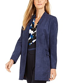 Faux-Suede Open-Front Topper Jacket