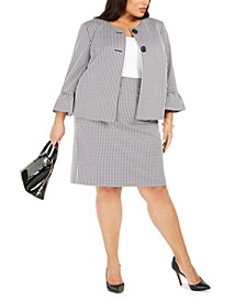 Plus Size Houndstooth-Print Bell-Sleeve Blazer & Pencil Skirt