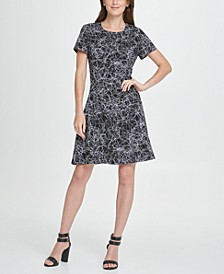 Scribble Print Fit  Flare Dress