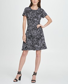 DKNY Scribble Print Fit  Flare Dress