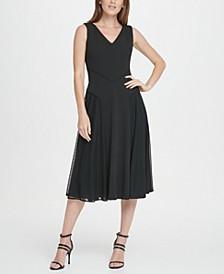 Mesh Skirt Midi Flare Dress