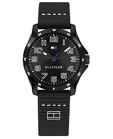 Tommy Hilfiger Kid's Black Silicone Strap Watch 32mm, Created For Macy's