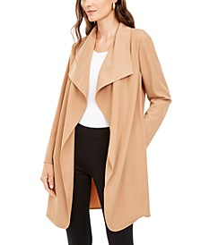 Petite Wing-Collar Draped-Front Jacket, Created for Macy's