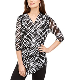 Alfani Asymmetrical Mesh Top, Created for Macy's