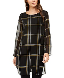 Chiffon Windowpane-Print Tunic Top, Created for Macy's