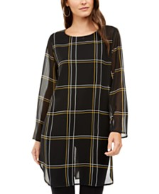 Alfani Chiffon Windowpane-Print Tunic Top, Created for Macy's