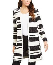 Petite Eyelash-Knit Long Cardigan, Created For Macy's