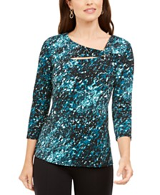 Alfani Asymmetrical Printed Top, Created for Macy's
