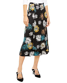 Alfani Floral-Print Faux-Wrap Skirt