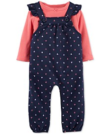 Baby Girls 2-Pc. Cotton T-Shirt & Heart-Print Overalls Set