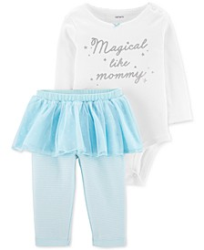 Baby Girls 2-Pc. Graphic-Print Bodysuit & Tutu Leggings Set