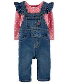 Baby Girls 2-Pc. T-Shirt & Denim Overalls Set