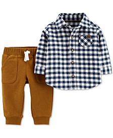 Baby Boys 2-Pc. Cotton Checkered Button-Front Top & French Terry Pants Set
