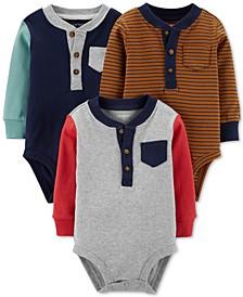 Baby Boys 3-Pk. Cotton Henley Bodysuits