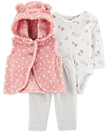Baby Girls 3-Pc. Velboa Vest, Animal-Print Bodysuit & Leggings Set
