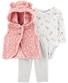 Carter's Baby Girls 3-Pc. Velboa Vest, Animal-Print Bodysuit & Leggings Set