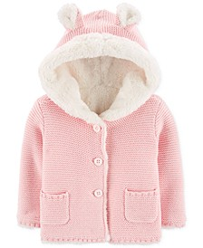 Baby Girls Faux-Fur-Lined Cardigan