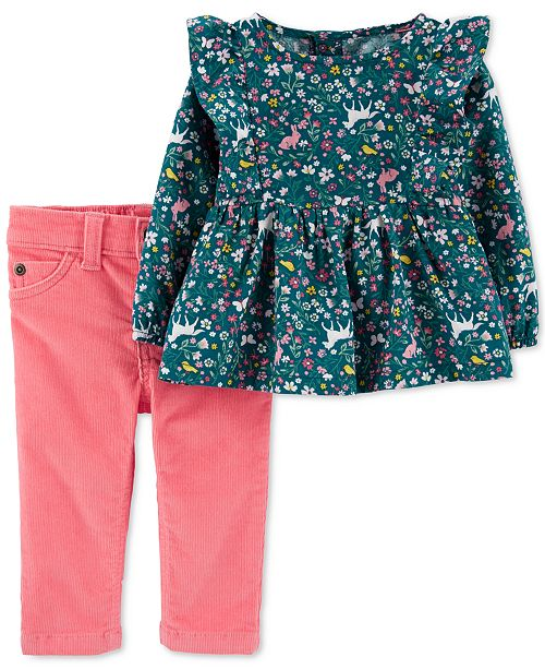Carter's Baby Girls 2-Pc. Printed Top & Corduroy Pants Set