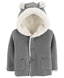 Baby Girls & Boys Faux-Fur-Lined Hooded Cardigan