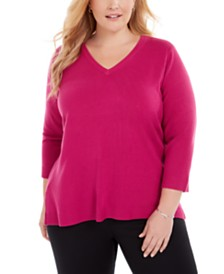 Karen Scott Plus Size V-Neck Luxsoft Sweater, Created for Macy's
