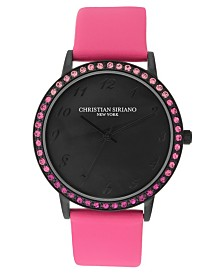 Christian Siriano Women's Analog MOP Stainless Steel Pink Vegan Leather Watch 40mm