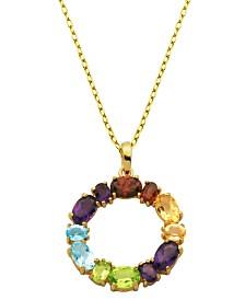 Prime Art & Jewel 18K Gold Over Sterling Silver Multi Stone Round Pendant