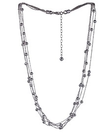 Beaded Layered Necklace in Sterling Silver