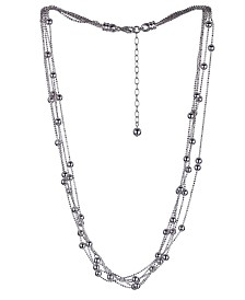 Prime Art & Jewel Sterling Silver Beaded Layered Necklace
