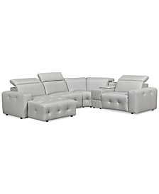 Haigan 5-Pc. Leather Chaise Sectional Sofa with 1 Power Recliner, Created for Macy's