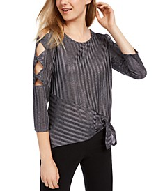 Juniors' Cut-Out Sleeve Asymmetrical Top