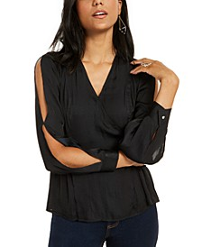 Slit-Sleeve Faux-Wrap Top, Created for Macy's