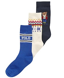 Polo Ralph Lauren Little & Big Boys 3-Pk. Ski Bear Crew Socks