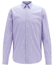 BOSS Men's Eliott Regular-Fit Vichy-Check Dobby-Weave Cotton Shirt