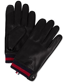 Tommy Hilfiger Men's Leather Touch-Screen Gloves