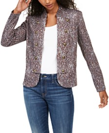 Tommy Hilfiger Printed Button-Trim Jacket, Created for Macy's
