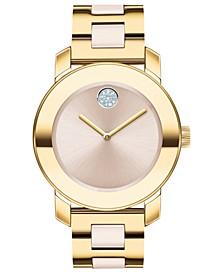 Women's Swiss BOLD Beige Ceramic & Gold-Tone Stainless Steel Bracelet Watch 36mm