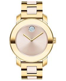 Movado Women's Swiss BOLD Beige Ceramic & Gold-Tone Stainless Steel Bracelet Watch 36mm